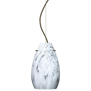 Pera 9 Bronze One-Light LED Mini Pendant with Marble Grigio Glass, Dome Canopy