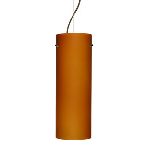 Tondo 18 Bronze One-Light LED Mini Pendant with Amber Matte Glass