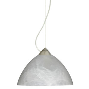Tessa Satin Nickel 10.One-Light LED Pendant with Marble Glass, Dome Canopy