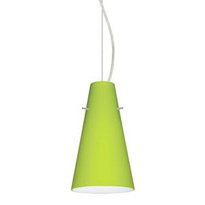Cierro Satin Nickel 5.One-Light Mini Pendant with Chartreuse Glass