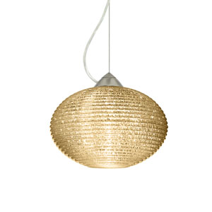 Pape 12 Satin Nickel One-Light Pendant with Gold Glitter Glass, Dome Canopy