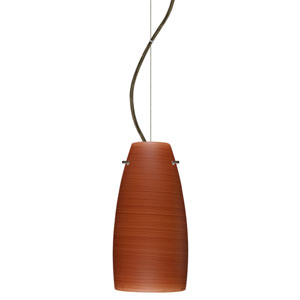 Tao 10 Bronze One-Light LED Mini Pendant with Cherry Glass, Dome Canopy