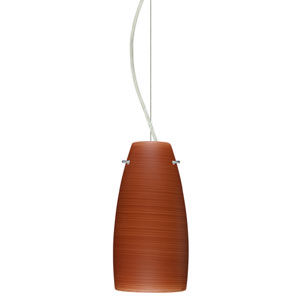 Tao 10 Satin Nickel One-Light LED Mini Pendant with Cherry Glass, Dome Canopy