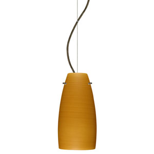 Tao 10 Bronze One-Light LED Mini Pendant with Oak Glass, Dome Canopy