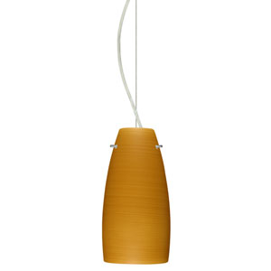 Tao 10 Satin Nickel One-Light LED Mini Pendant with Oak Glass, Dome Canopy