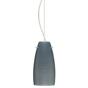 Tao 10 Satin Nickel One-Light LED Mini Pendant with Titan Glass, Dome Canopy