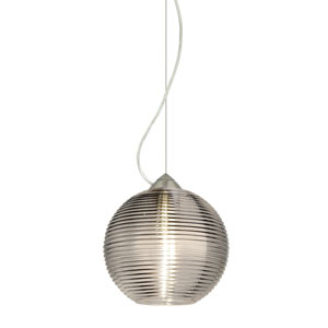Kristall 8 Satin Nickel One-Light LED Pendant with Smoke Glass, Dome Canopy
