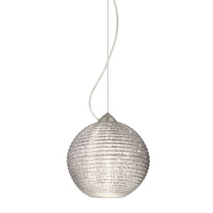 Kristall 8 Satin Nickel One-Light LED Pendant with Glitter Glass, Dome Canopy