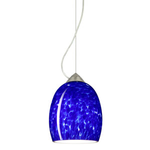 Lucia Satin Nickel 6.One-Light LED Mini Pendant with Blue Cloud Glass, Dome Canopy