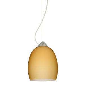 Lucia Satin Nickel 6.One-Light LED Mini Pendant with Vanilla Matte Glass, Dome Canopy