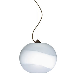 Luna Bronze 10.One-Light LED Pendant with Opal- Frost Glass, Dome Canopy