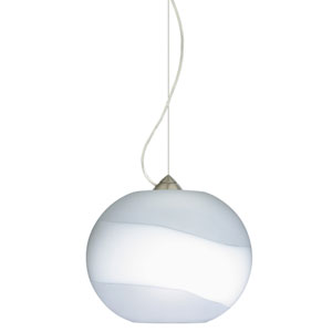 Luna Satin Nickel 10.One-Light LED Pendant with Opal- Frost Glass, Dome Canopy