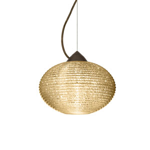 Pape 10 Bronze 10.One-Light Pendant with Gold Glitter Glass, Dome Canopy