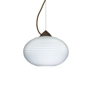 Pape 10 Bronze 10.One-Light LED Pendant with Opal Ribbed Glass, Dome Canopy