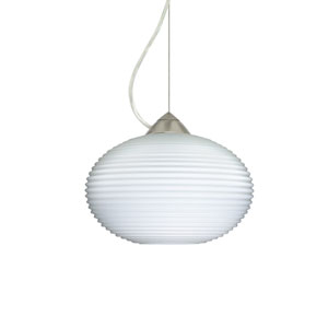 Pape 10 Satin Nickel 10.One-Light LED Pendant with Opal Ribbed Glass, Dome Canopy