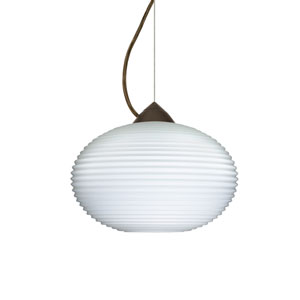 Pape 12 Bronze One-Light LED Pendant with Opal Ribbed Glass, Dome Canopy