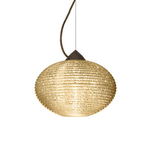 Pape 12 Bronze One-Light LED Pendant with Gold Glitter Glass, Dome Canopy
