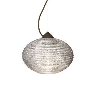 Pape 12 Bronze One-Light LED Pendant with Glitter Glass, Dome Canopy