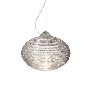 Pape 12 Satin Nickel One-Light LED Pendant with Glitter Glass, Dome Canopy