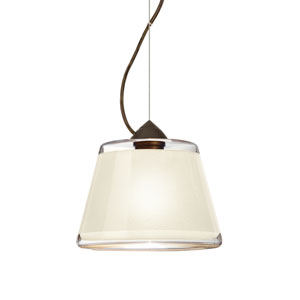Pica 9 Bronze 8.One-Light LED Pendant with White Sand Glass, Dome Canopy