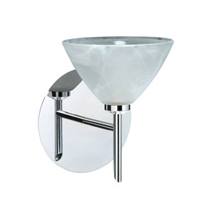 Domi Chrome One-Light Halogen Wall Sconce with Marble Glass