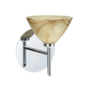 Domi Chrome One-Light Halogen Wall Sconce with Mocha Glass