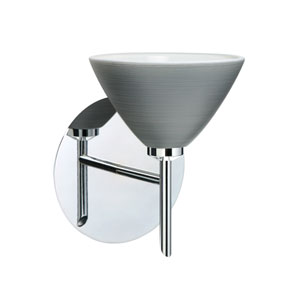 Domi Chrome One-Light Halogen Wall Sconce with Titan Glass