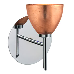 Divi Chrome One-Light Halogen Wall Sconce with Copper Foil Glass