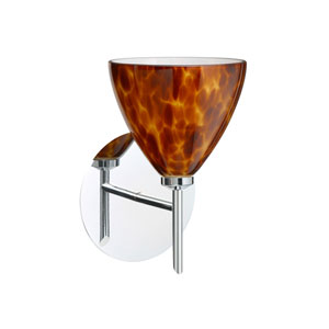 Mia Chrome One-Light Halogen Wall Sconce with Amber Cloud Glass