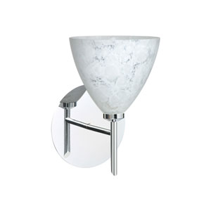 Mia Chrome One-Light Halogen Wall Sconce with Carrera Glass