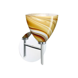 Mia Chrome One-Light Halogen Wall Sconce with Honey Glass