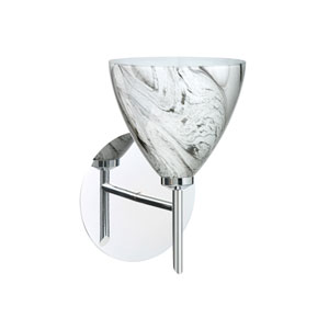 Mia Chrome One-Light Halogen Wall Sconce with Marble Grigio Glass