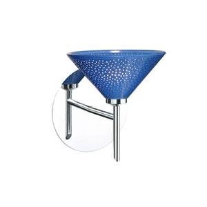 Kona Chrome One-Light Halogen Wall Sconce with Blue Starpoint Glass