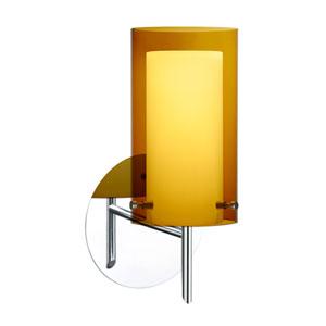 Pahu 4 Chrome One-Light LED Bath Sconce with Transparent Armagnac Glass