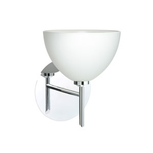 Brella Chrome One-Light Halogen Wall Sconce with White Glass