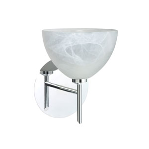 Brella Chrome One-Light Halogen Wall Sconce with Marble Glass