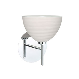 Brella Chrome One-Light Halogen Wall Sconce with Chalk Glass