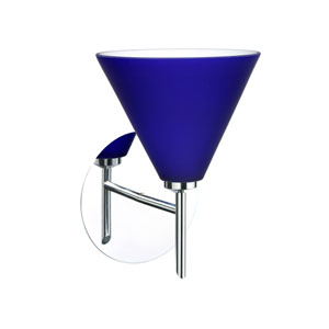 Kani Chrome One-Light Halogen Wall Sconce with Cobalt Blue Matte Glass