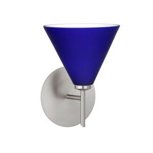 Kani Cobalt Blue Matte Satin Nickel Sconce