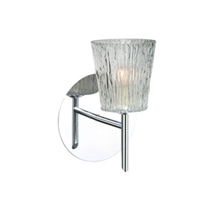 Nico Chrome One-Light Halogen Wall Sconce with Clear Stone Glass