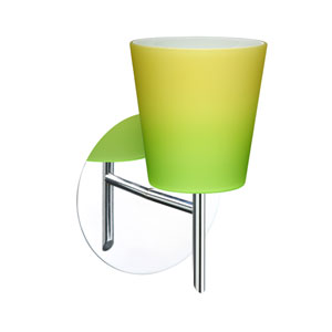 Canto Chrome One-Light Halogen Wall Sconce with Bicolor Green and Yellow Glass
