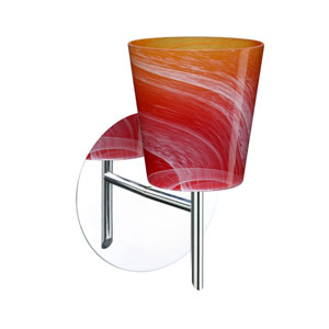 Canto Chrome One-Light Halogen Wall Sconce with Solare Glass