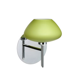 Peri Chrome One-Light Halogen Wall Sconce with Lime Glass