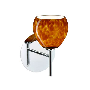Tay Tay Chrome One-Light Halogen Wall Sconce with Amber Cloud Glass