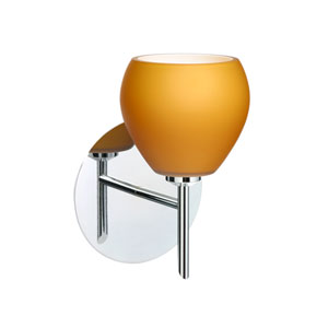 Tay Tay Chrome One-Light Halogen Wall Sconce with Amber Matte Glass