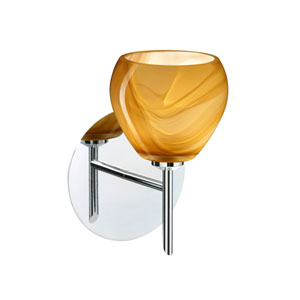 Tay Tay Chrome One-Light Halogen Wall Sconce with Honey Glass
