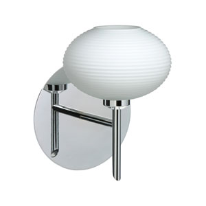 Lasso Chrome One-Light Halogen Wall Sconce with Opal Matte Glass