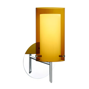 Pahu Chrome One-Light Halogen Wall Sconce with Transparent Armagnac and Opal Glass