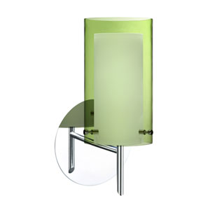 Pahu Chrome One-Light Halogen Wall Sconce with Transparent Olive and Opal Glass