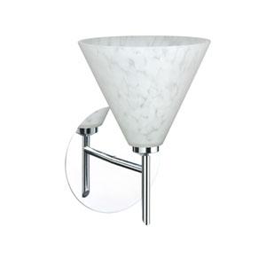 Kani Chrome One-Light LED Bath Sconce with Carrera Glass